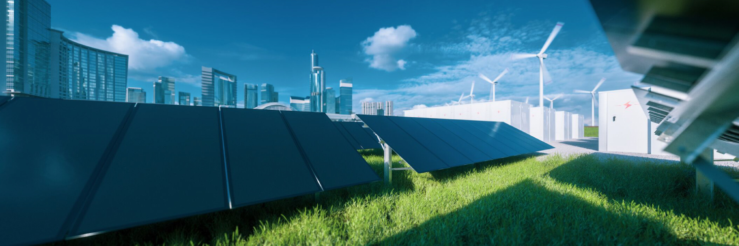 Solar panels with futuristic buildings in the background