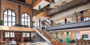 open office space with staircase
