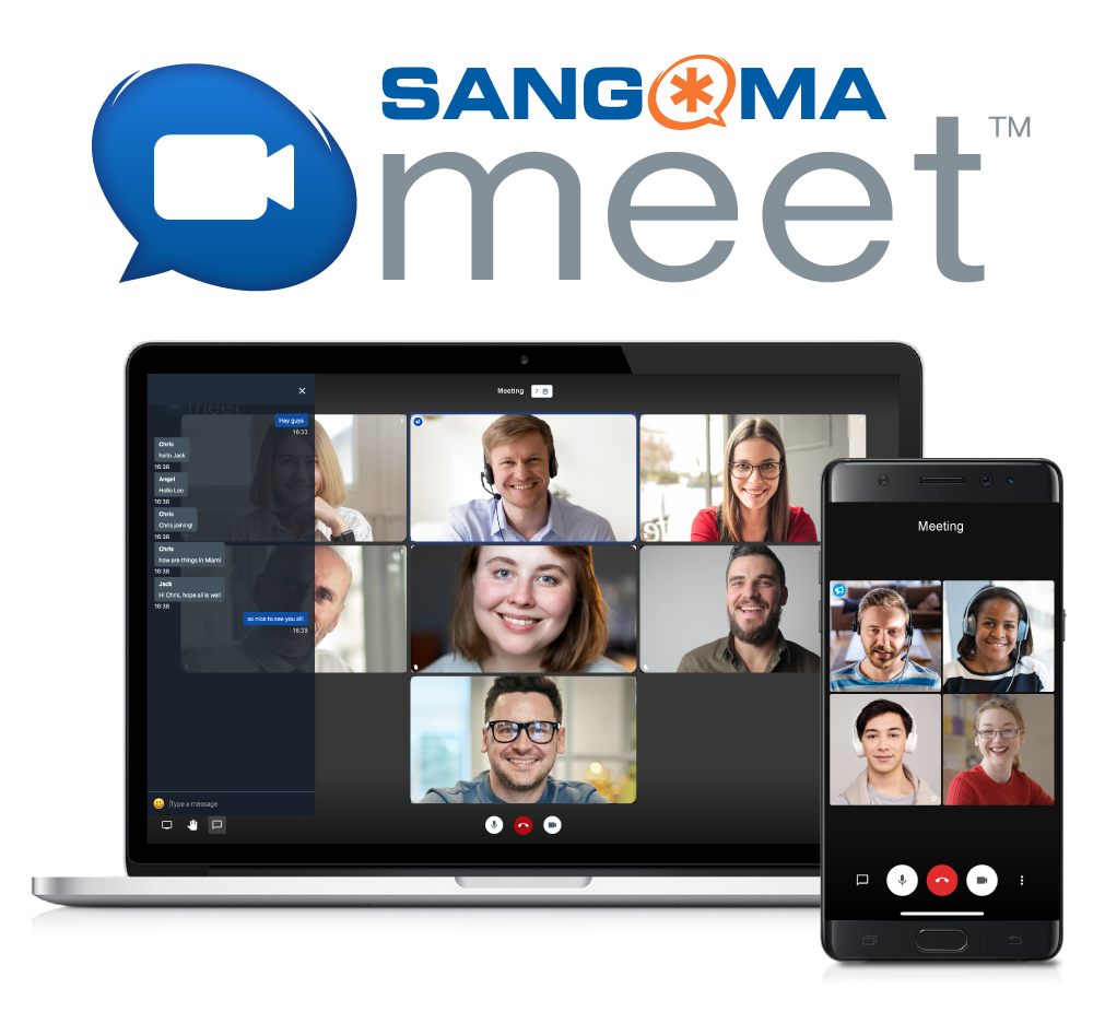 Sangoma Meet logo with video conferencing images on laptop and mobile device