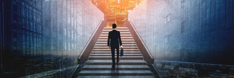 Man walking up a set of stairs