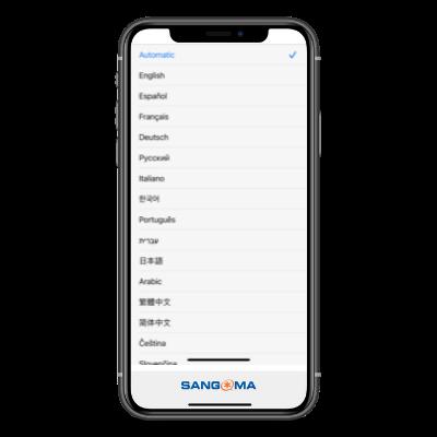 Sangoma Connect iOS - Language selection