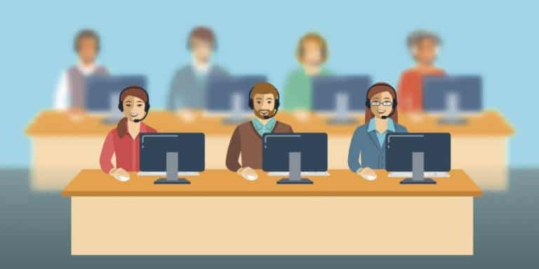 cartoon of call center employees at computers