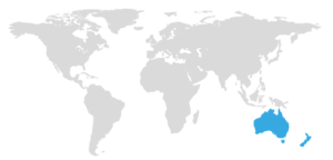 map with Australia highlighted