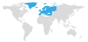 map with Europe highlighted