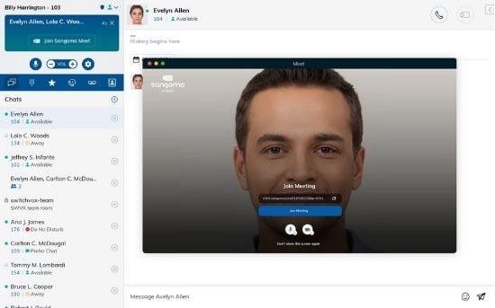 Desktop Softphone Example - Video Meet Integration - Meet participants video shown in the desktop client