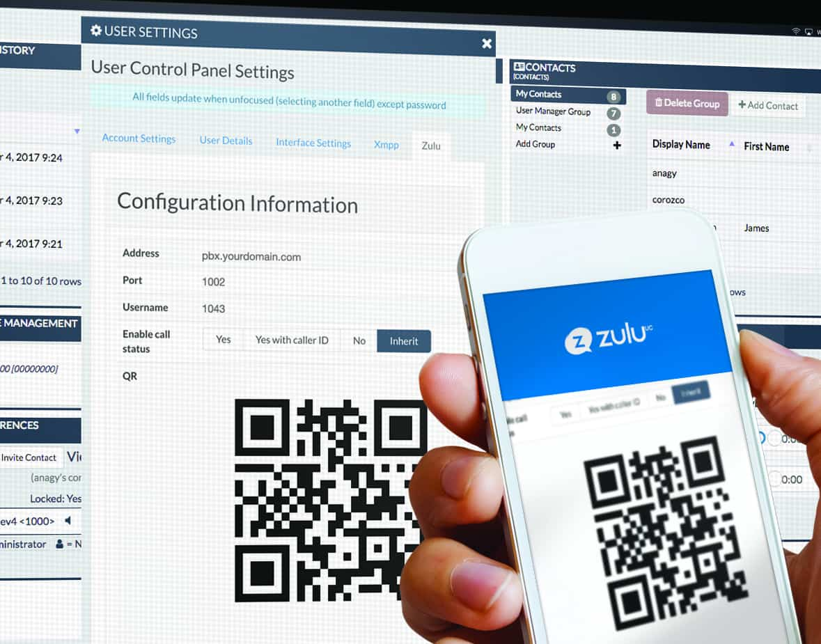 ZULU UC with QR code displayed on both mobile and desktop versions